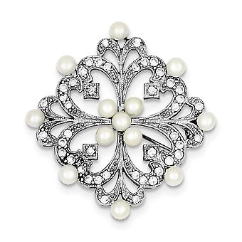 925 Sterling Silver Rhodium plated Freshwater Cultured Pearl and CZ Cubic Zirconia Simulated Diamond Pin Jewelry Gifts f