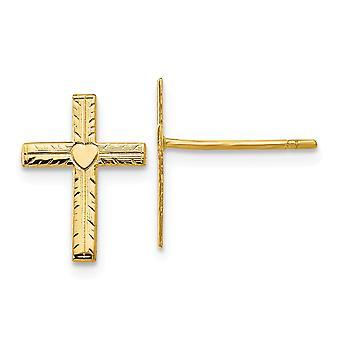 14k Brincos amarelos post espolidos e ceno post religiosa fé cruz brincos love heart center Measures 15x10mm