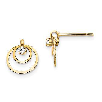 14K amarelo ouro Madi K Zirconia cúbico para meninos ou meninas círculos Post brincos