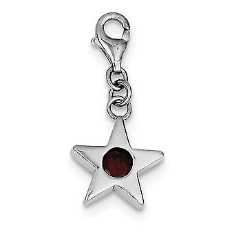 925 Sterling Silver Polished Open back Fancy Lobster Closure Janvier CZ Cubic Zirconia Simulated Diamond Star Charm Pend