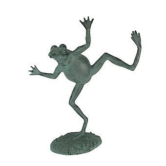 Verdigris Beenden Tanzen Frosch Spitter Statue