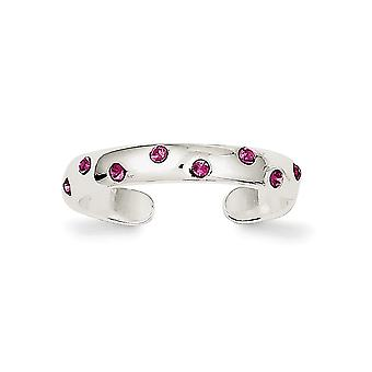 925 Sterling Silver Solid Polished Pink Cubic Zirconia Toe Ring