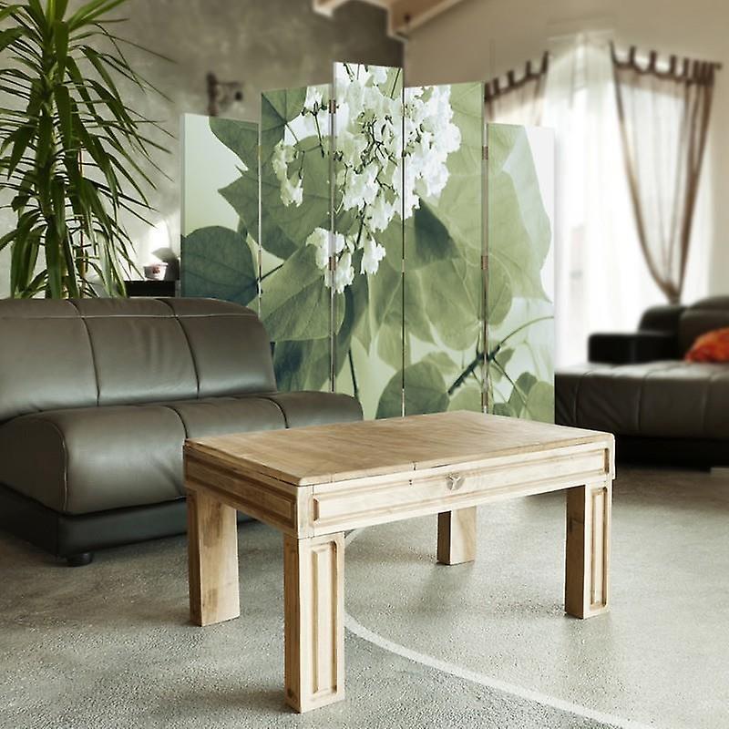 Diviseur de pièce décoratif, 5 panneaux, double-sided, toile rotative de 360 , fleur blanche