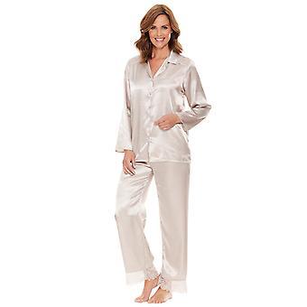 Chums Damen Pyjama Satin und Spitze