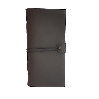 "4"" x 8"" Black Leather Journal Pin Stud Elastic Wrap Design"