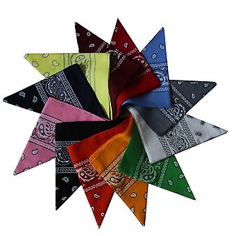 Set of 12 Bandanas with Paisley Patterns - Multiple Colours to Fit Many of Your Outfits!