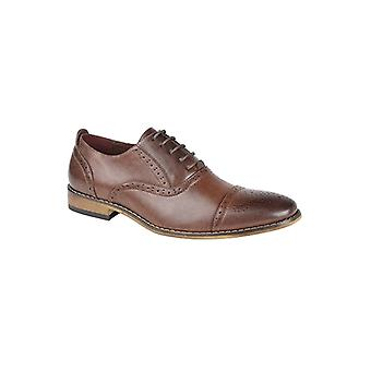 Goor Isaac Mens Pu Lace Up Oxford Brogue Chaussures Brown