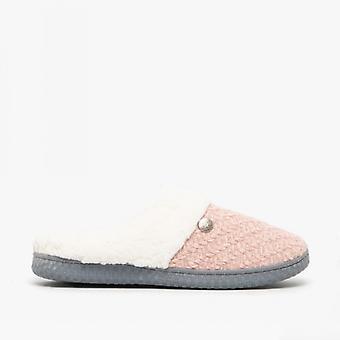 Dr Keller Mae Ladies Knitted Mule Slippers Pink