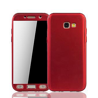 Samsung Galaxy A5 2017 Handy-Hülle Schutz-Case Cover Panzer Schutz Glas Rot