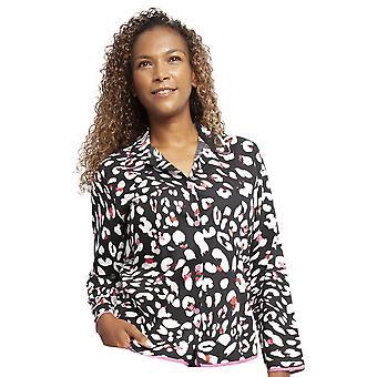 Cyberjammies 4361 Women-apos;s Amber Black Animal Print Cotton Pyjama Top