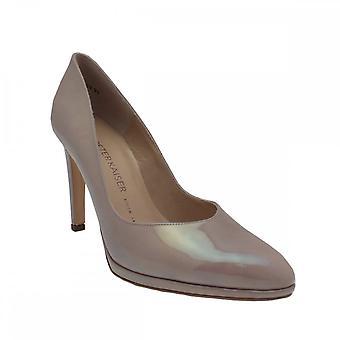 Peter Kaiser Herdi Taupe Patent High Heel Platform Court Shoe