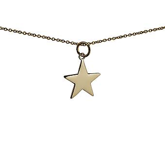 9ct Gold 15mm Star Pendant with a 1.1mm wide cable Chain 20 inches