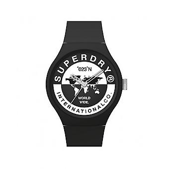 Superdry Watch SYG279B - Urban XL International Round Case in Black Plastic Dial White Dial and Black Silicone Bracelet Patterns