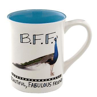 Hoots N  Howlers Bff Beautiful Fabulous Friend Peacock Mug