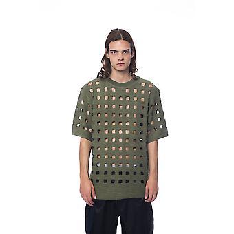 Short-sleeved military green Nicolo Tonetto men's T-shirt