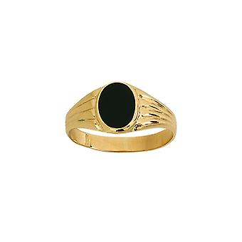 14k Yellow Gold Signet Small Oval Simulated Onyx and Design Ring Jewelry Gifts for Women - Ring Size: 6 to 8