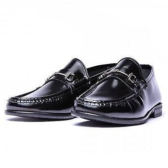 Hudson Cannonball Snaffle Hi-Shine Black Slip On Loafer Shoes