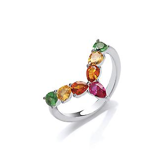 Jewelco London Rhodium Plated Sterling Silver Multi Coloured Pear-Shape Cubic Zirconia Rainbow Tropical Wishbone Eternity Ring