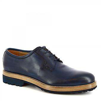 Leonardo Shoes Men's handmade classy lace-ups shoes in dark blue calf leather