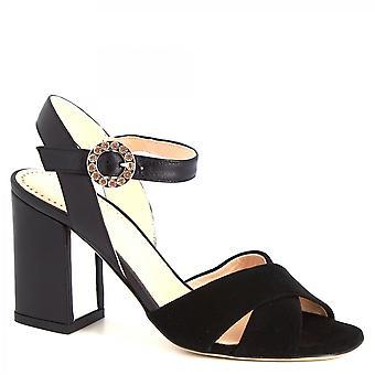 Leonardo Shoes Women's handmade high heels buckle sandals black suede leather
