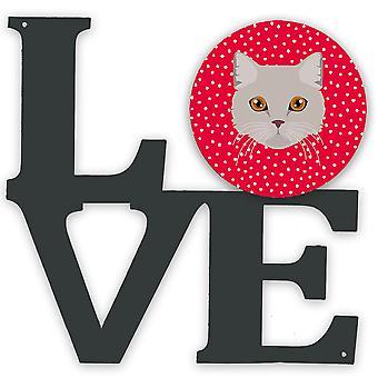 Brasiliansk semi langhår katt kjærlighet metall vegg kunstverk kjærlighet
