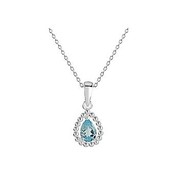 Dew Sterling Silver Teardrop Blue Topaz Bobble Surround Pendant 9707BT