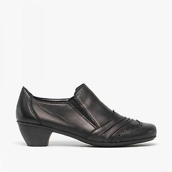 ريكر 41730-00 السيدات الجلود أحذية المحكمة كعب أسود