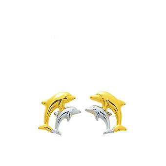Pendientes;orejas laquis mariposa rosa y oro azul 750/1000 amarillo (18K)