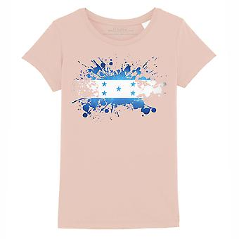 STUFF4 Girl's Round Neck T-Shirt/Honduras/Honduran Flag Splat/Coral Pink