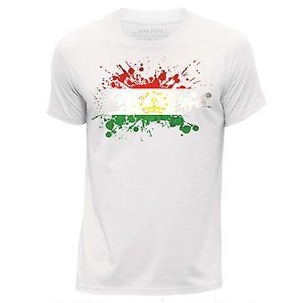 STUFF4 Men's Round Neck T-Shirt/Tajikistan Flag Splat/White