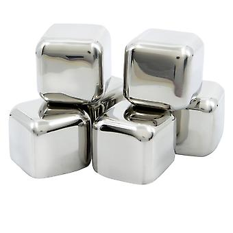 TRIXES Stainless Steel Whiskey Stones No Water Ice Cubes 6 Pack