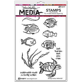 "Dina Wakley Media Cling Briefmarken 6""X9"" - Scribbly Fishes"
