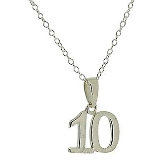"Jo For Girls Sterling Silver ""10th Birthday"" Pendant Necklace 14"""