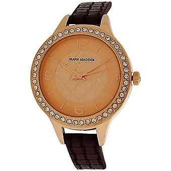 Marc Maddox Mesdames Rose-ton or analogique cadran brun PU bracelet Watch MC6001-25