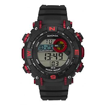 Sekonda Mens Digitale Zwart / Rode Bezel Rubber Strap Horloge 1525