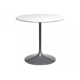 Gillmore Pedestal Medium Dining Table White Gloss And Smoked Chrome