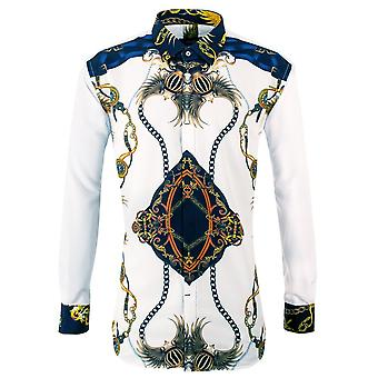 Oscar Banks Luxury Chain Patterned Mens Shirt