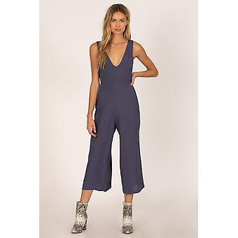 Amuse Port geweven Jump Suit-Indigo
