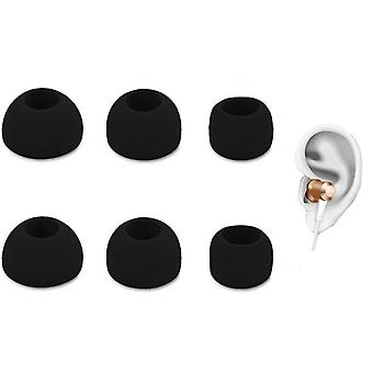 3-pack universal eartops for headphones - silicone - black
