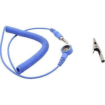 Quadrios ESD earth cable 1.80 m 10 mm stud and socket, Plug, Alligator clip