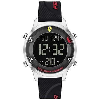 Scuderia Ferrari Men's Digitrack | Correia de borracha preta | Relógio Black Digital Dial 0830756