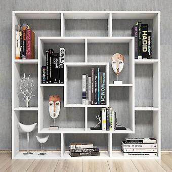 White Frame Library in Melaminic Chip, PVC 125x22x125 cm