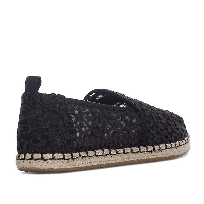 Women's Toms Lace Leaves Deconstructed Espadrille Pumps in Black