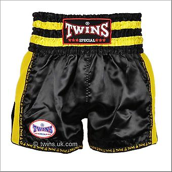 Twins special retro muay thai shorts - black yellow