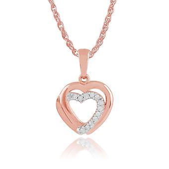 Classic Round Diamond Heart Pendant Necklace in 9ct Rose Gold  191P0698019