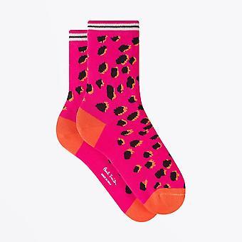 PS Paul Smith  - 'Cheetah' Motif Socks - Pink