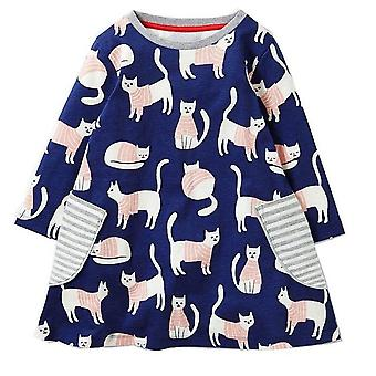 Long Sleeve Princess Tunic Jersey Dress, Cat Design, Infant