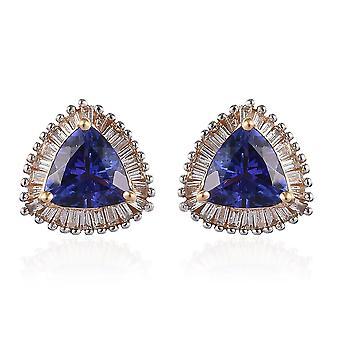 ILIANA 18K Yellow Gold AAA Tanzanite and Diamond (SI/G H) Stud Earrings 1.50 Ct.