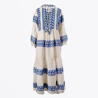 Pearl & Caviar  - Embroidered Aztec Maxi Dress - Blue/Cream