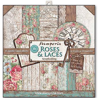 Rose Stamperia & amp; Pacchetto carta Lacci da 12x12 pollici